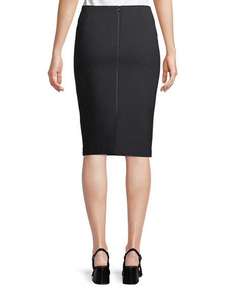 Wool Scuba Pencil Skirt with Metallic Seam Details