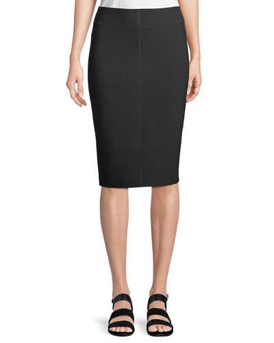 Wool Scuba Pencil Skirt with Metallic Seam Details