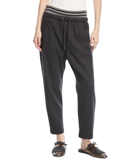 Metallic-Drawstring Cashmere Ankle Jogger Pants