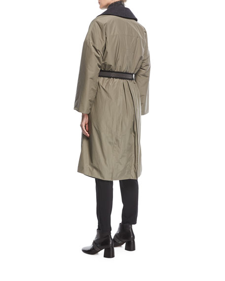 Taffeta to Cashmere Double-Breasted Trench Coat