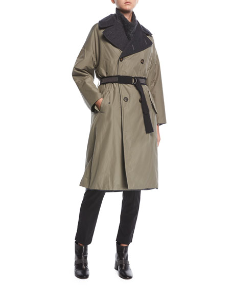 Brunello Cucinelli Taffeta to Cashmere Double-Breasted Trench