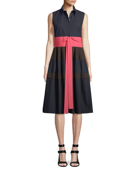 Sleeveless Button-Front Tie-Waist Tricolor Cotton Dress