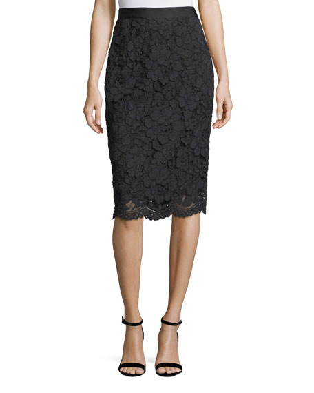 Floral Corded Lace Pencil Skirt