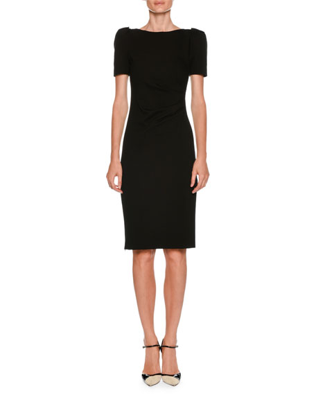 Giorgio Armani Bateau-Neck Short-Sleeve Sheath Dress w/ Ruched