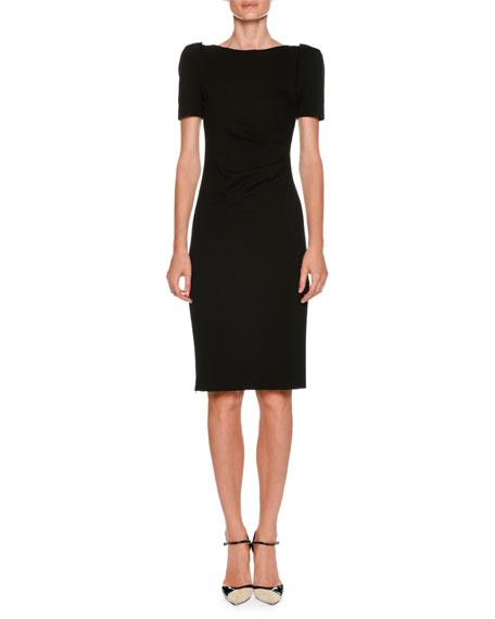 Giorgio Armani Bateau-Neck Short-Sleeve Sheath Dress w/ Ruched