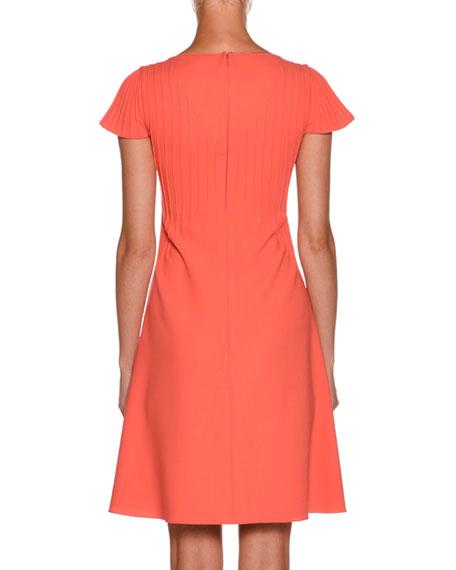 High-Neck Cap-Sleeve Pintucked A-Line Wool Dress