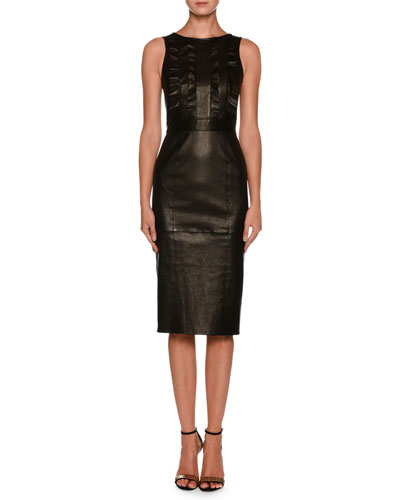 Sleeveless Lamb Leather Tea-Length Dress w/ Ruffle Detail