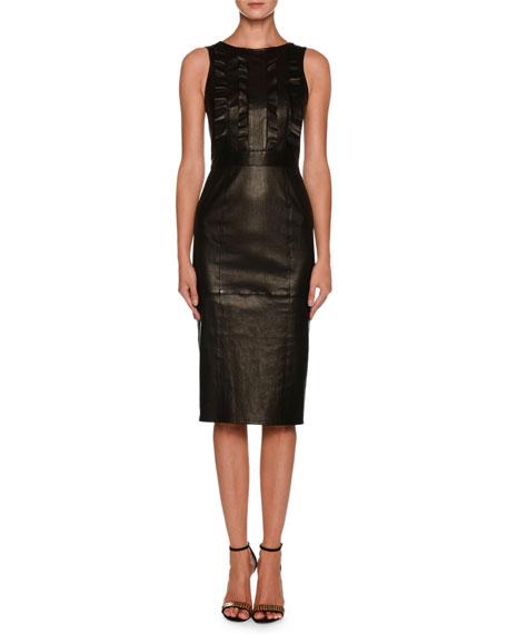 Sleeveless Lamb Leather Tea-Length Dress w/ Ruffle Detail