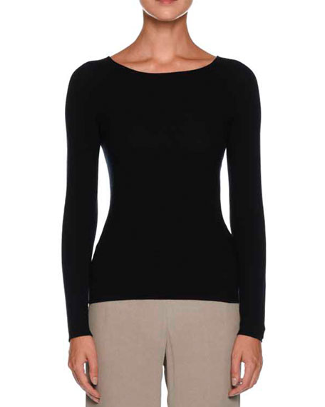 Giorgio Armani Round-Neck Long-Sleeve Knit Top