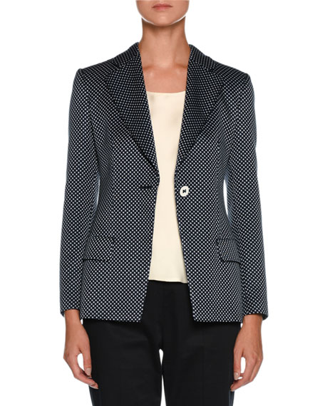 Giorgio Armani Dotted One-Button Silk-Cotton Jacket and Matching