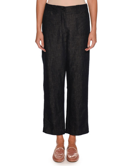 Wide-Leg Cotton-Linen Denim Pants