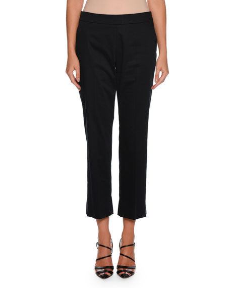 Giorgio Armani Straight-Leg Side-Zip Cropped Cotton Pants and