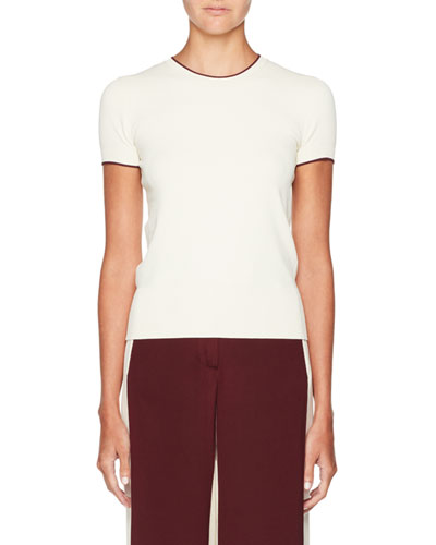 Tipped Short-Sleeve Sweater