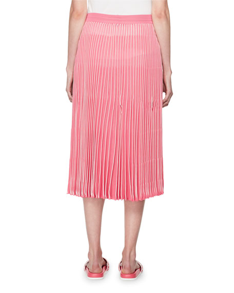 Pleated A-Line Pull-On Midi Skirt