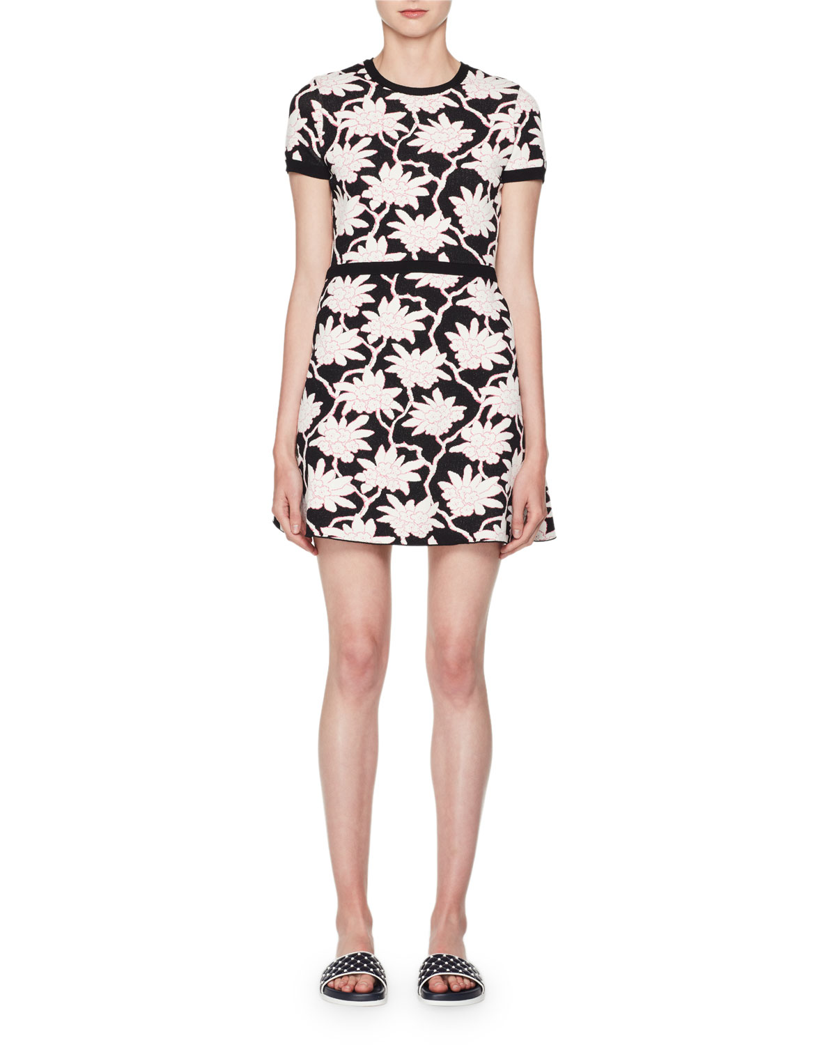64b34c4be3b5 Valentino Crewneck Short-Sleeve Jacquard Knit Dress