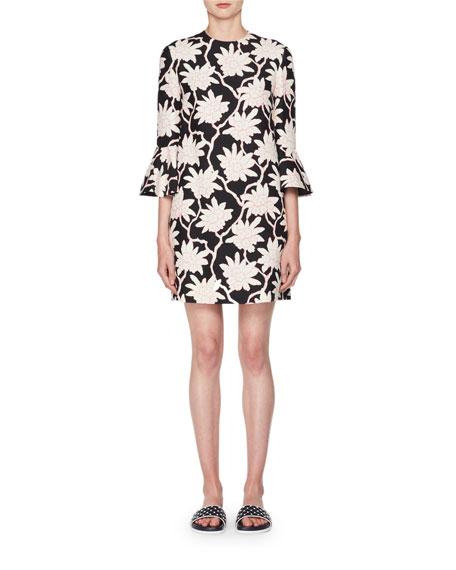Valentino 3/4-Sleeve A-Line Floral-Print Wool-Silk Short Dress