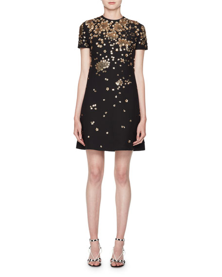 Valentino Crewneck Short-Sleeve A-Line Dress w/ Floral Paillettes