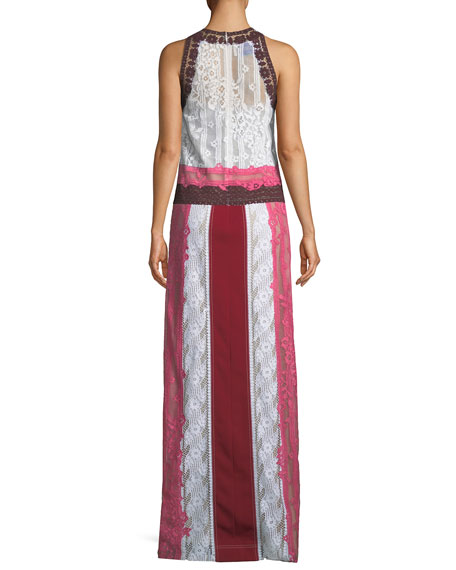 Sleeveless Mixed-Lace Tank Gown