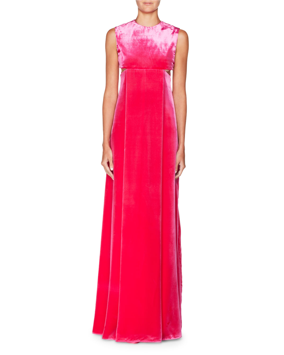 Valentino Sleeveless A-Line Velvet Evening Gown with Cutouts ...