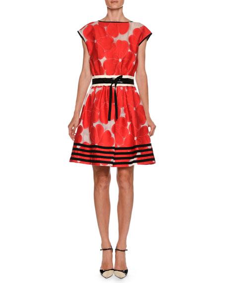 High-Neck Cap-Sleeve Floral-Jacquard Cotton-Silk Dress
