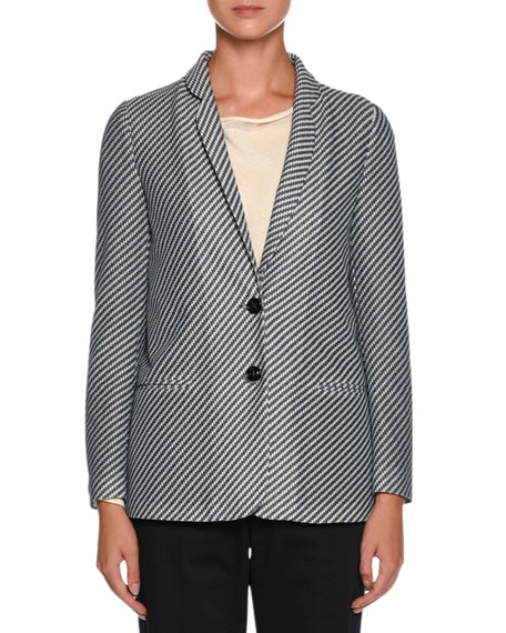 Diagonal-Stripe Jersey Jacquard Two-Button Jacket