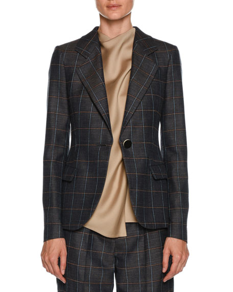 Giorgio Armani Windowpane-Check One-Button Wool-Silk Jacket and