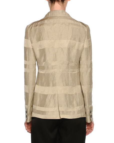 Striped Button-Front Linen-Blend Blazer