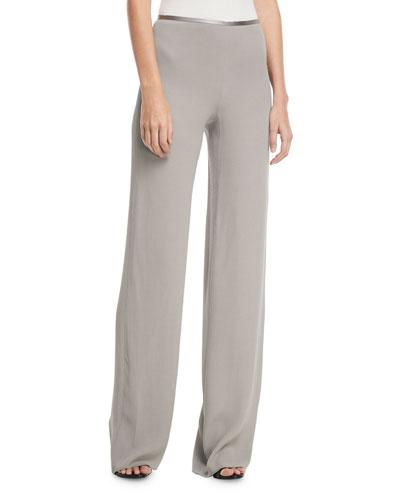Side-Zip Crinkled Cady Wide-Leg Pants
