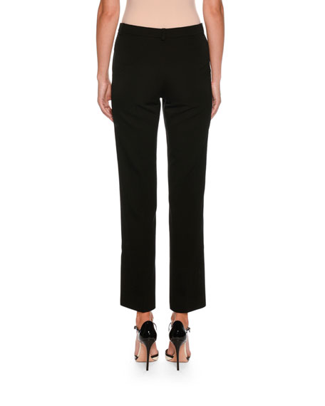 Straight-Leg Crop Wool Pants w/ Stitch Detail