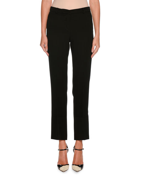 Giorgio Armani Straight-Leg Crop Wool Pants w/ Stitch