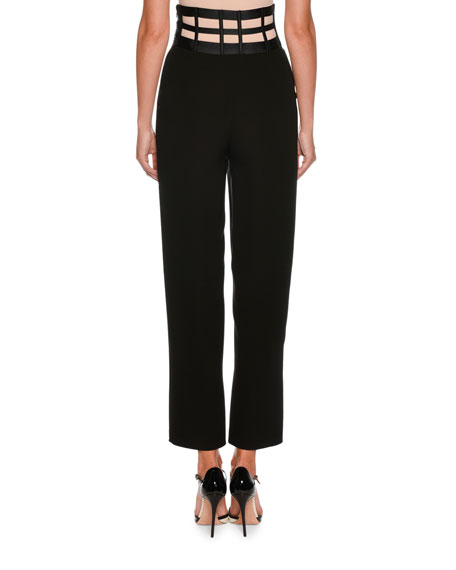 High-Waist Rib Cage Straight-Leg Crepe Silk Pants