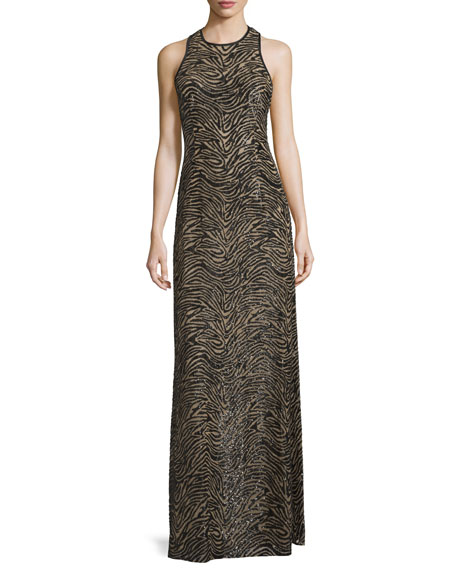 Jewel-Neck Racerback Embellished Gown, Black