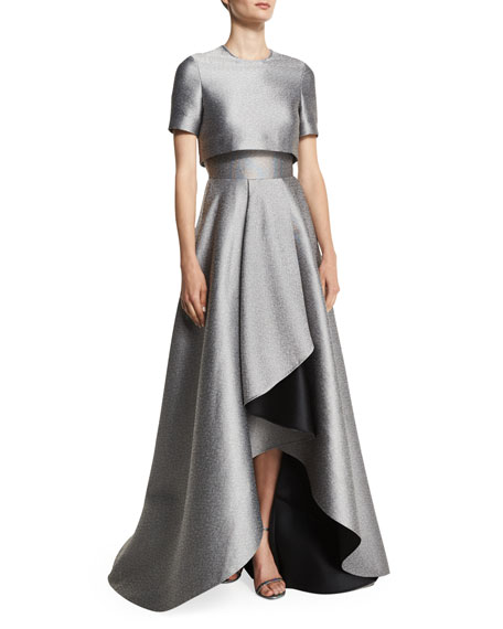 Jason Wu Popover-Bodice Two-Tone Evening Gown, Fawn/Adobe
