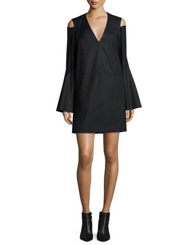 Bell-Sleeve Cold-Shoulder Dress, Black