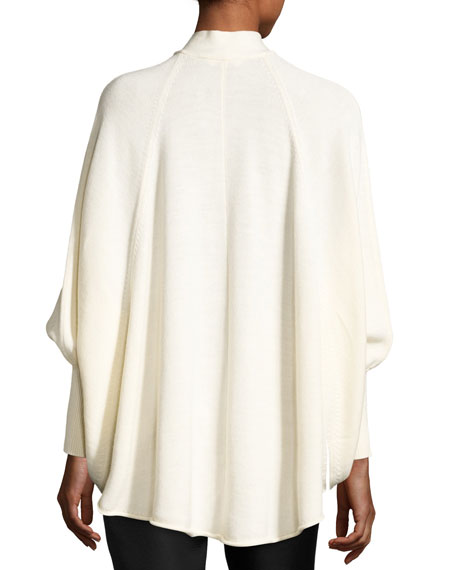 Tie-Neck Wool Cape Sweater