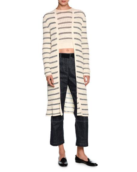 Giorgio Armani Striped Long Open Cardigan, Off White