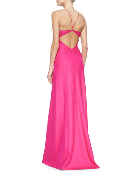 Open-Back Satin Gown, Geranium