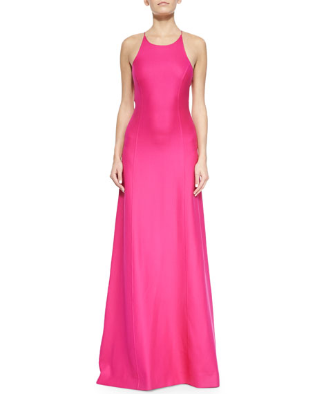 Michael Kors Collection Open-Back Satin Gown, Geranium