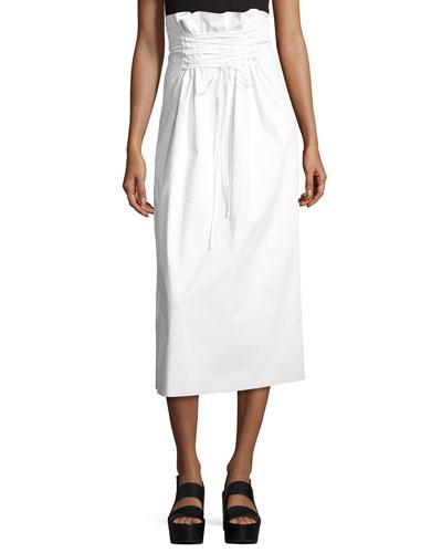 Daul Paperbag-Waist Midi Skirt