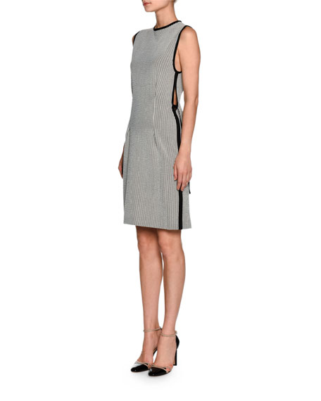 Seersucker Sleeveless Ribbon-Trim Dress, White/Black