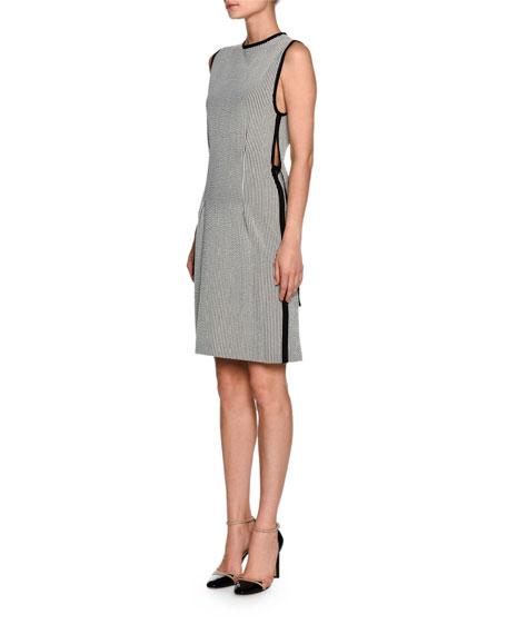 Seersucker Sleeveless Ribbon-Trim Dress, White/Black