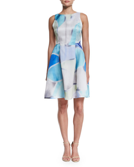 Sleeveless Floral-Print Fit-&-Flare Dress, Multi Colors