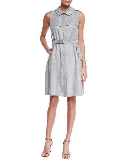 Sleeveless Belted Trench Dress, Dust