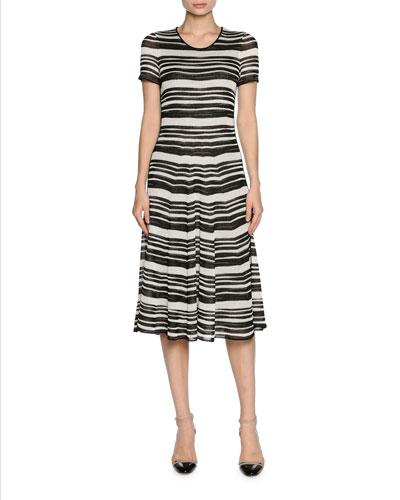 Striped Ottoman Short-Sleeve Dress, White/Black