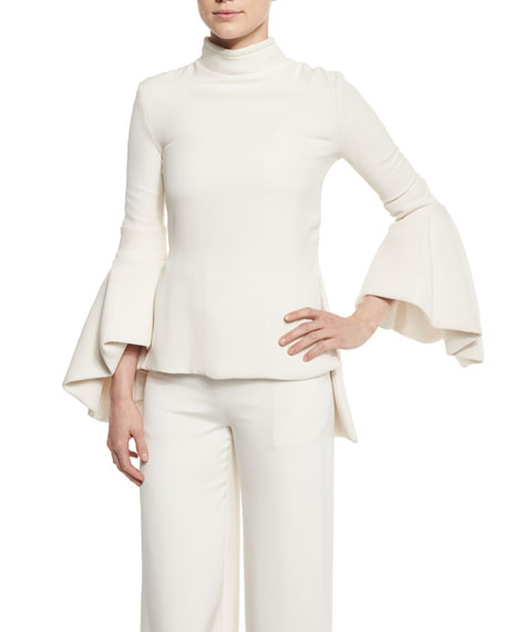 Brandon Maxwell Mock-Neck Bell-Sleeve Silk Top, Ivory