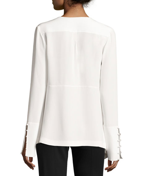 Tassel-Trim French-Cuff Silk Blouse