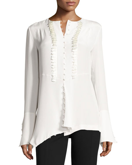 Derek Lam Tassel-Trim French-Cuff Silk Blouse