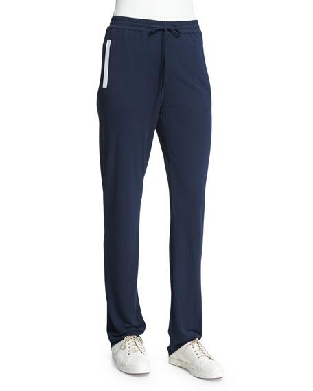 Armani Collezioni Slim-Leg Drawstring Pants W/Contrast Trim,