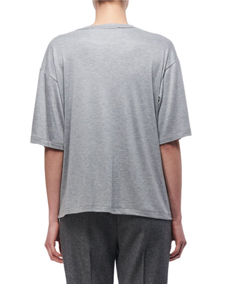 Knotted-Side Cotton T-Shirt, Light Gray