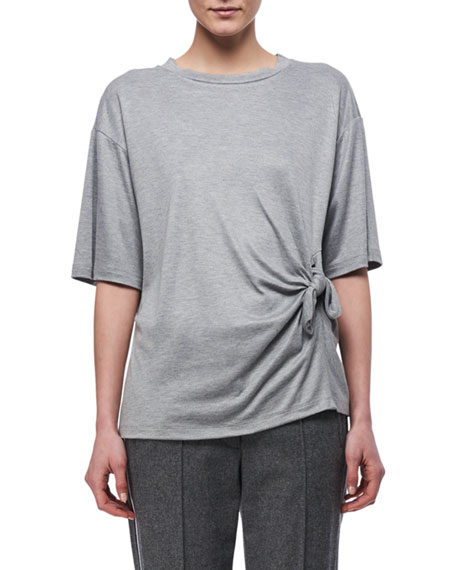 Knotted-Side Cotton T-Shirt